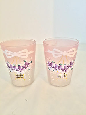 Pink to Clear Mold Blown Hand Painted Basket Violets & Bow Tumblers Glasses 2