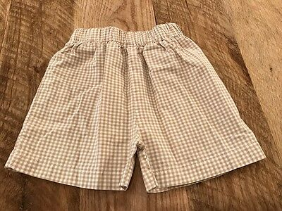 Southern Sunshine Kids Light Brown and White Check Boy Shorts 100% Cotton Size 5
