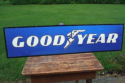 Vintage Goodyear Tires Sign Gas Station Oil 2 Sided Metal - Independent Dealer
