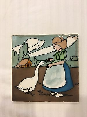 H. Richards Art Nouveau Tile C1900 Dutch Girl with Goose