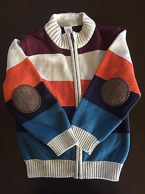 Gymboree boys 5-6 multi color striped long sleeve zip up cardigan