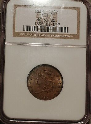 1833 Classic Head Half Cent  graded by NGC MS 63BN - attractive, nice surfaces
