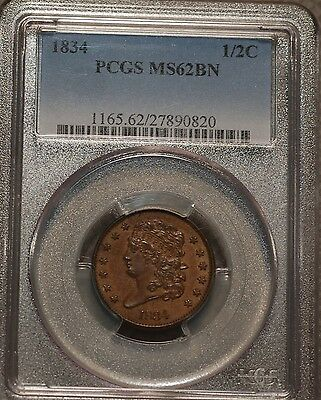1834 Classic Head Half Cent  graded by PCGS MS 62BN