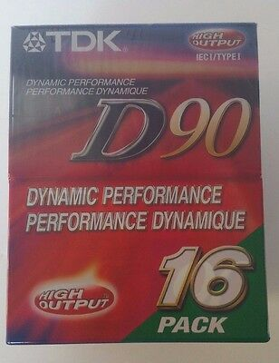TDK D90 IECI/TYPE I Dynamic Performance High Output 16 Pack Cassette Tapes