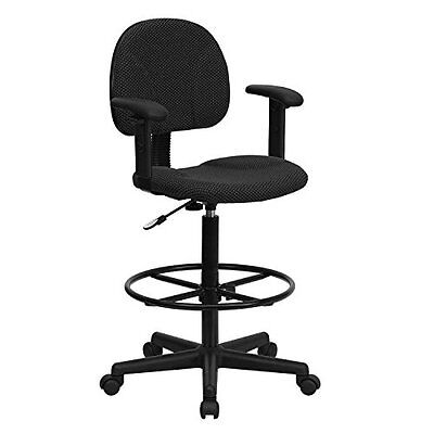 Black Drafting Chairs Patterned Fabric Ergonomic Drafting Chair With Height Arms