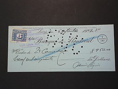 Banque de Montreal Cheque, Lévis 1947 with 3 Cents Stamp #G6626