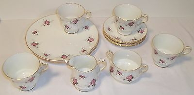 Hammersley bone china 4 luncheon plates, saucers, cups, + creamer & sugar, Spode