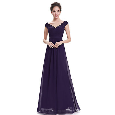 Women Ladies Long Formal Evening Party Ball Gown Bridesmaid Dress US Size 14