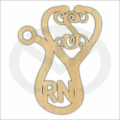 Unfinished Wood Stethoscope Shape Laser Cutout with Initial & Credentials, Gift