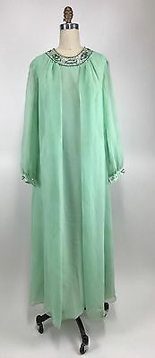 Vintage 1960's Sea Mint Pastel Green Beaded Sequin Evening Gown Dress L