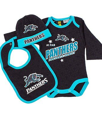 NRL Three Piece Baby Bodysuit - Penrith Panthers - Rugby League - BNWT