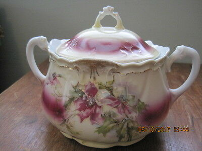 Beautiful Antique Cracker Or Biscuit Jar Hand Painted Two Handles ~ Vgc