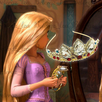 US! Princess Rapunzel Tangled Gold Tiara Crown  Cosplay Birthday Headband Gift
