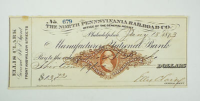 1873 North Pennsylvania Railroad Co Manufacturers National Bank Check Ellis Clar