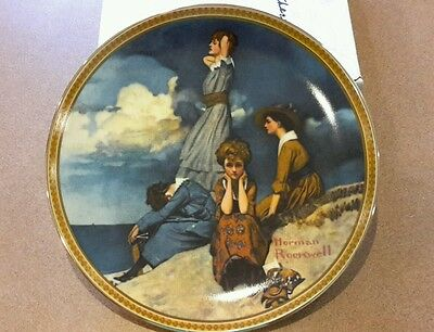 """Edwin Knowles """"Waiting on the Shore"""" Norman Rockwell Collector Plate 1981"""