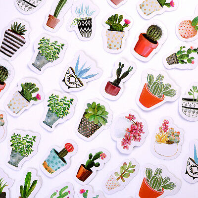 45 pcs/pack Cactus Succulents Stickers Pot Cultured Green Plants Stick Label DIY