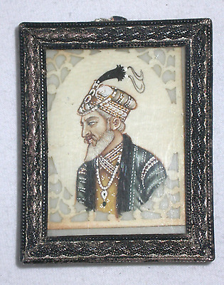 Antique India Miniature Painting Mughal Mogul Man, Hand Painted, Sterling Frame