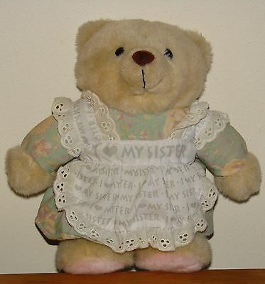 "Avon 9"" Stuffed Teddy Bear LOVE MY SISTER 1996 collectible Gift"