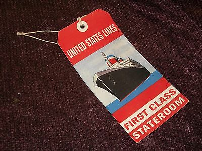 Vintage S.S. United States Lines FIRST CLASS STATEROOM BAGGAGE LUGGAGE TAG RARE