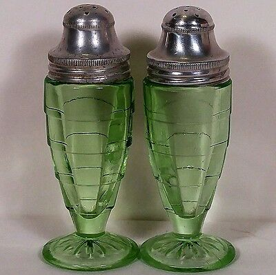 Rare Block Optic Green Salt & Pepper Shakers by Hocking Glass Company No Reserve