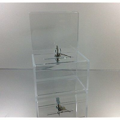 Clear Mail & Suggestion Boxes Acrylic Mini Donation Box With Cam Lock And (2)