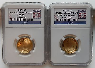 2014-W $5 Gold Coin Set Baseball Hall of Fame ~ MS70 & PF70's with US Mint Boxes