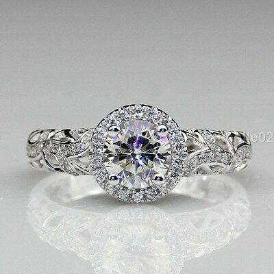 1.74 ct Round Cut White Moissanite Vintage Filigree Engagement Ring in 14k gold