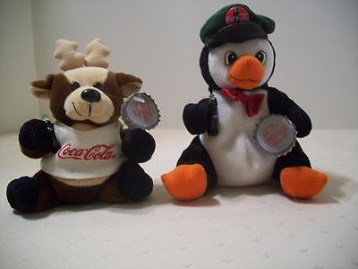 Coca-Cola Plush Toys Reindeer & Penguin 1997 with Tags