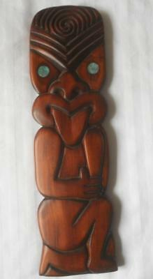 Vintage Carved New Zealand Tribal Maori Tiki Wall Art Paua Shell Eyes 29 Cm
