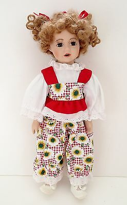 """Porcelain/Cloth Cute 14"""" Doll With Curly Hair Brown Eyes"""