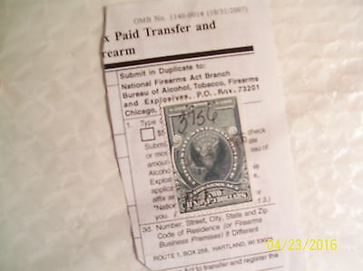 Federal Firearms Tax Stamp- $200 Transfer Stamp- Series of 1934 On Partial Form