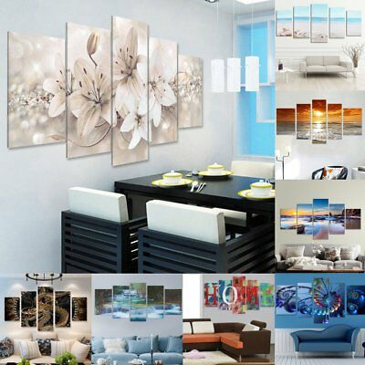 5Pcs Canvas Print Painting Wall Picture Modern Home Art Decor Framed/Unframed