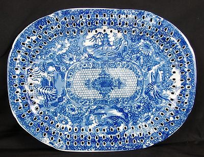 Flow Blue Rectangular Serving Platter with Open Slots around the Edges