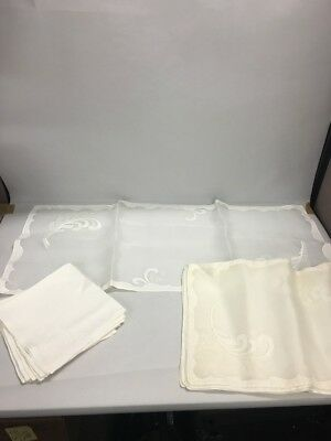 16 piece Linen Organdy Placemats Napkins Runner VINTAGE Hollywood Regency