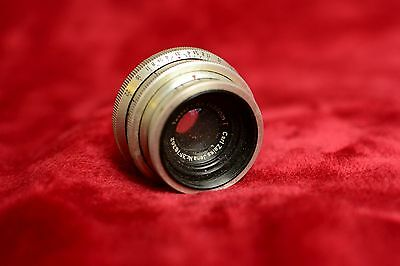 Vintage Carl Zeiss Jena Tessar 50mm f/3.5 red T lens for Exacta/Topcon mount