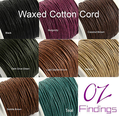 5 metres x 1 mm Waxed Cotton Thread Cord Necklace Bracelet Beading Macrame NEW