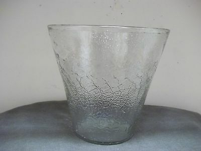 VTG Mid Century Handblown Italian Clear Crackle Art Glass 5 Quart Ice Bucket EUC