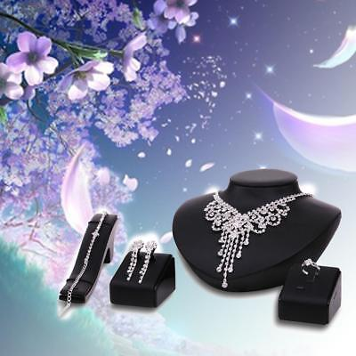 Hot Prom Wedding Bridal Party Crystal Rhinestone Necklace Earring Jewelry Set YY