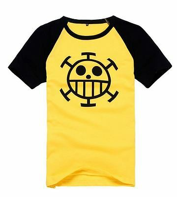 T-Shirt Maglia Maniche Corte Gialla Cosplay One Piece Trafalgar Law Monkey Luffy