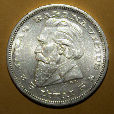 Lithuania 5 Litai 1936 Choice Uncirculated Silver Coin - Dr. Jonas Basanavicius