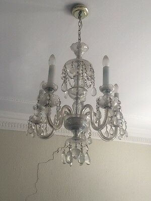 VINTAGE CHANDELIER, 3 TIER, CRYSTAL AND GLASS DROPS, 2g