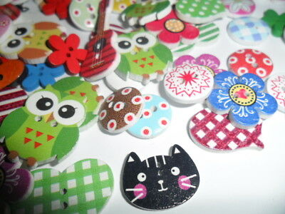 100 mixed wood wooden Buttons  Cartoons Craft sewing  flowers lots more