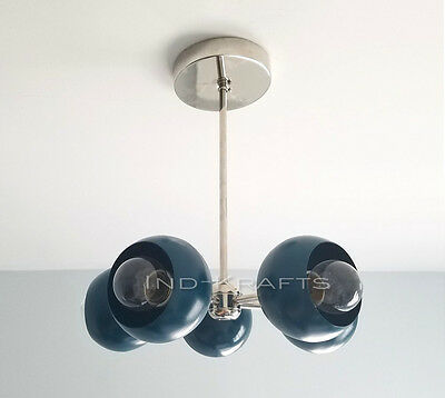 1950's MID CENTURY ATOMIC SPUTNIK 5 ARMS ORBS BRASS CHANDELIER LIGHTS FIXTURE