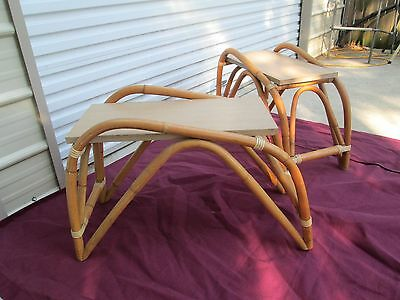 Pair Of Vintage Mid Century Modern Hollywood Regency Bamboo Rattan Side Tables