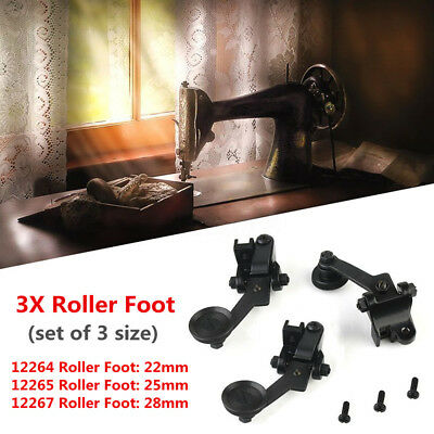 3 Sizes Set Sewing Machine Roller Wheel Foot Fabric Craft For Singer 31-15 44