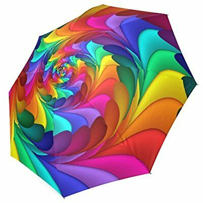 Artsadd Custom Rain Anti UV Foldable Psychedelic Rainbow Spiral Umbrella NEW