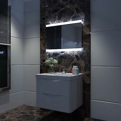 Bathroom LED Illuminated Mirror Touch Switch Large Wall Mirror 700x500/800x600mm