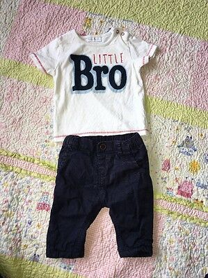 Baby Boy Next Little Brother T-shirt And Trousers Set 0-3 Months