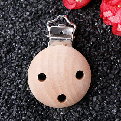 Baby Wooden Round Pacifier Suspender Clips Soother Dummy Nipples Holder 3 Holes