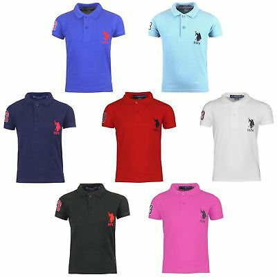 New Kids Boys Girls US POLO ASSN Polo Shirt Unisex School PE Top Age 2-13